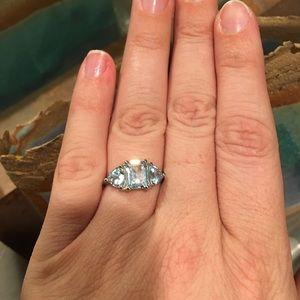 NWOT 4 Carat Aquamarine + Sterling Silver Ring!